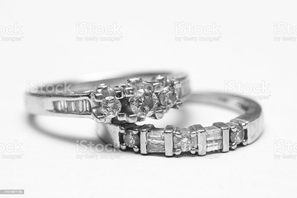 Close-up of two diamond wedding bands stacked on each other royalty-free stock photo