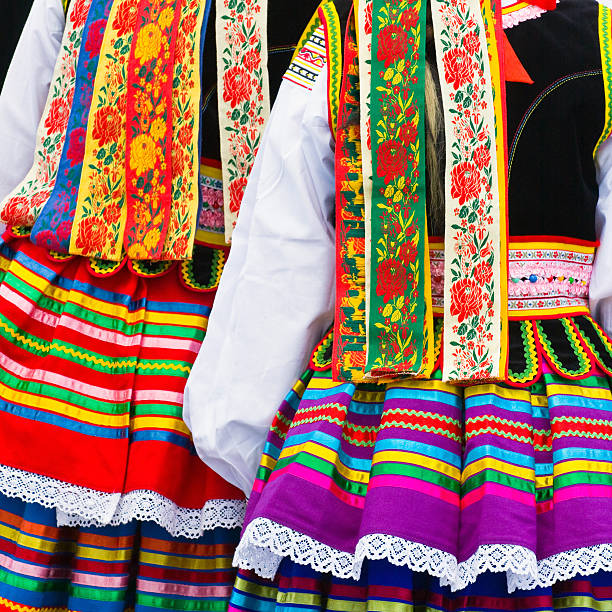 Close-up of two ethnic costumes Ethnic costumes folk music stock pictures, royalty-free photos & images