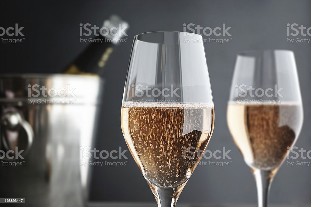 Close-up of two Glasses Rose / Pink Champagne stock photo