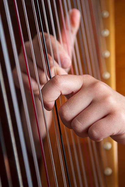 close-up of two hands playing the harp - harpist stock photos and pictures