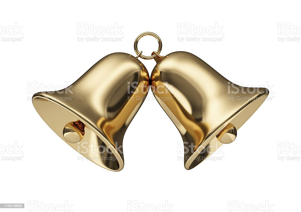 Close-up of two small golden bells stock photo