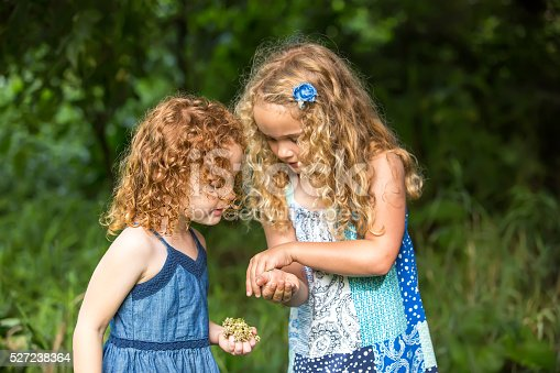Close-up front view of two young girls (sisters) looking at a Monarch butterfly caterpillar on the older sister's hand. Focus is on the caterpillar and younger sister. Both girls are wearing blue summer dresses. The younger sister has curly red hair, and the older sister has curly blonde hair. Taken on a summer morning in the woods.