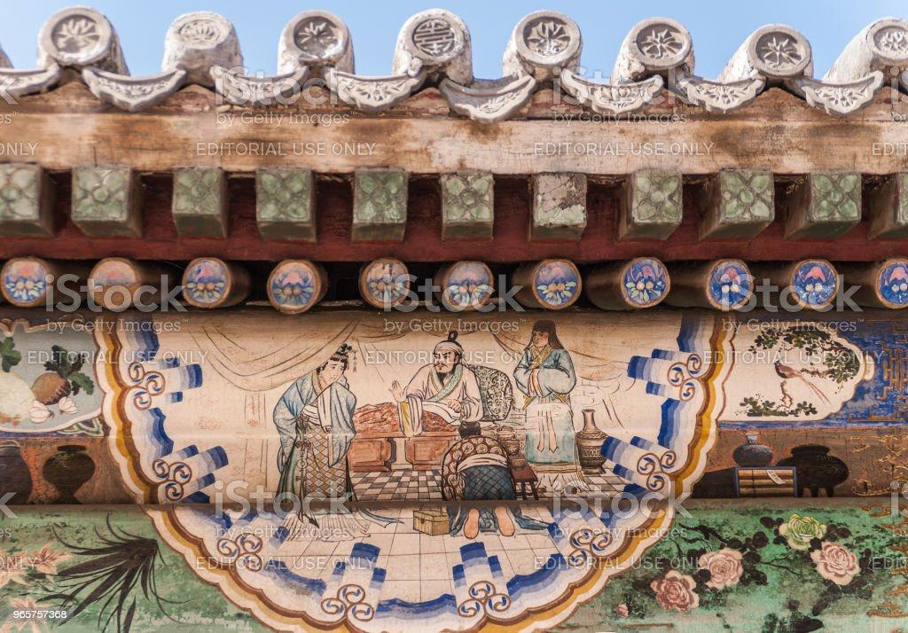 Närbild av under tak fasad målning på summer palace Beijing. - Royaltyfri Asien Bildbanksbilder
