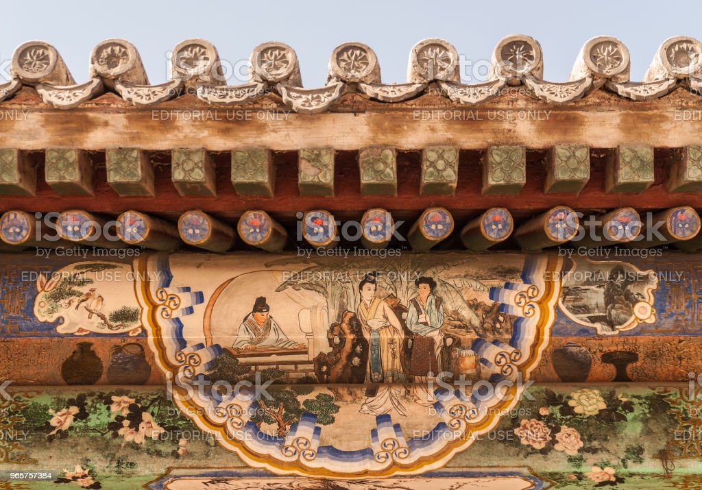 Closeup of under roof facade painting at summer palace Beijing. - Royalty-free Asia Stock Photo
