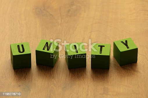 Close-Up Of Unity Text On Toy Blocks