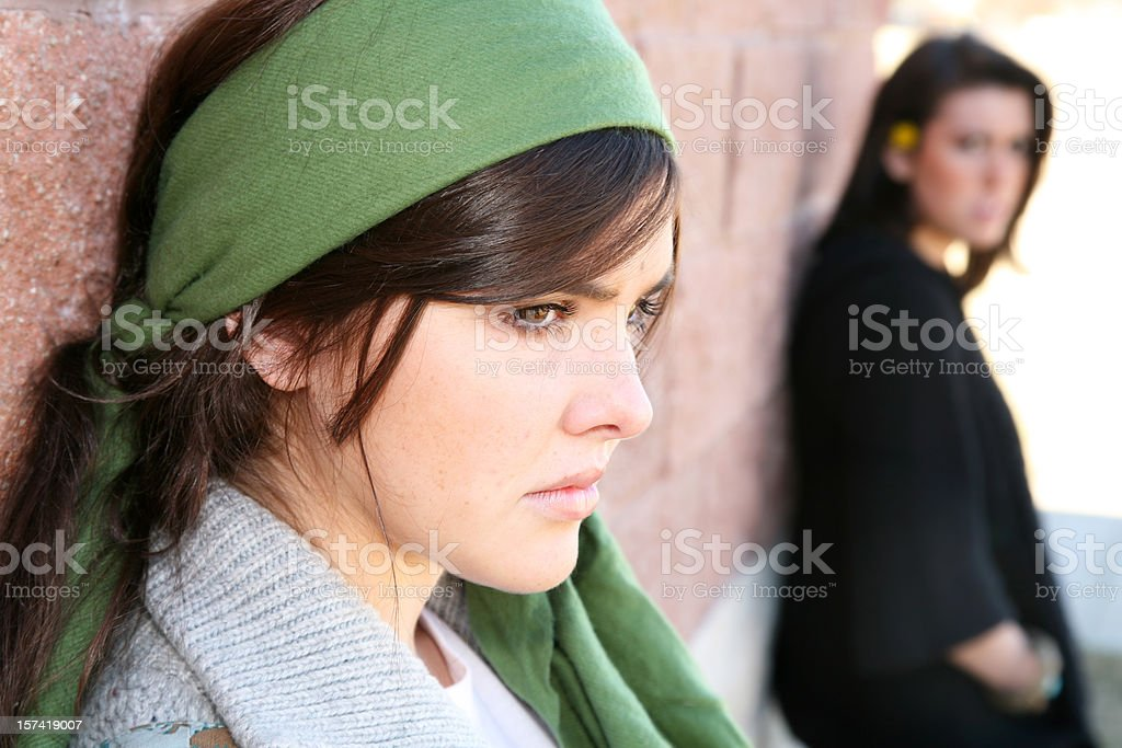 Closeup of Upset Girl And Her Friend royalty-free stock photo