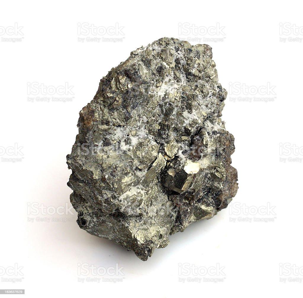 Close-up of Uranium ore on white background stock photo