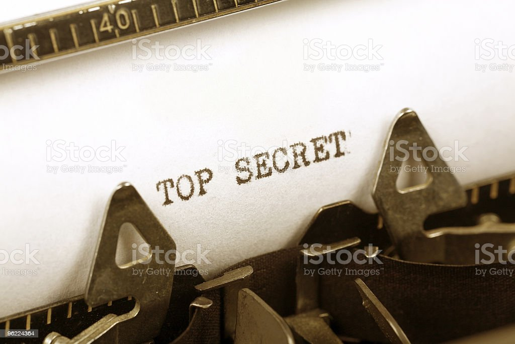 Close-up of urgent telegraph marked as top secret royalty-free stock photo