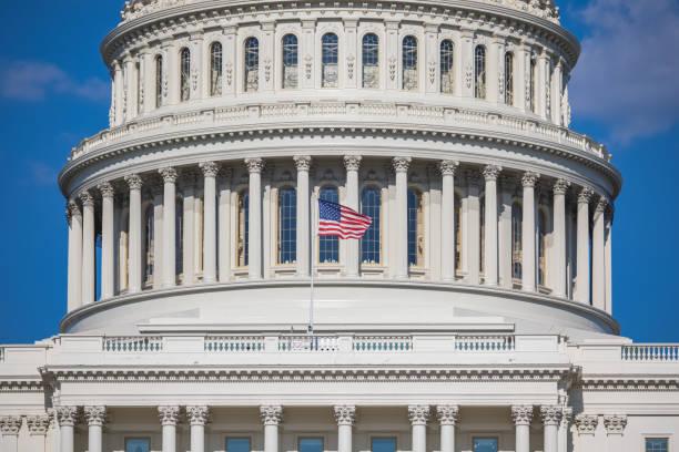 Closeup of US Capitol stock photo
