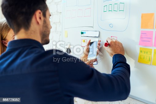 istock Closeup of ux designers prototyping mobile application layout 888729052