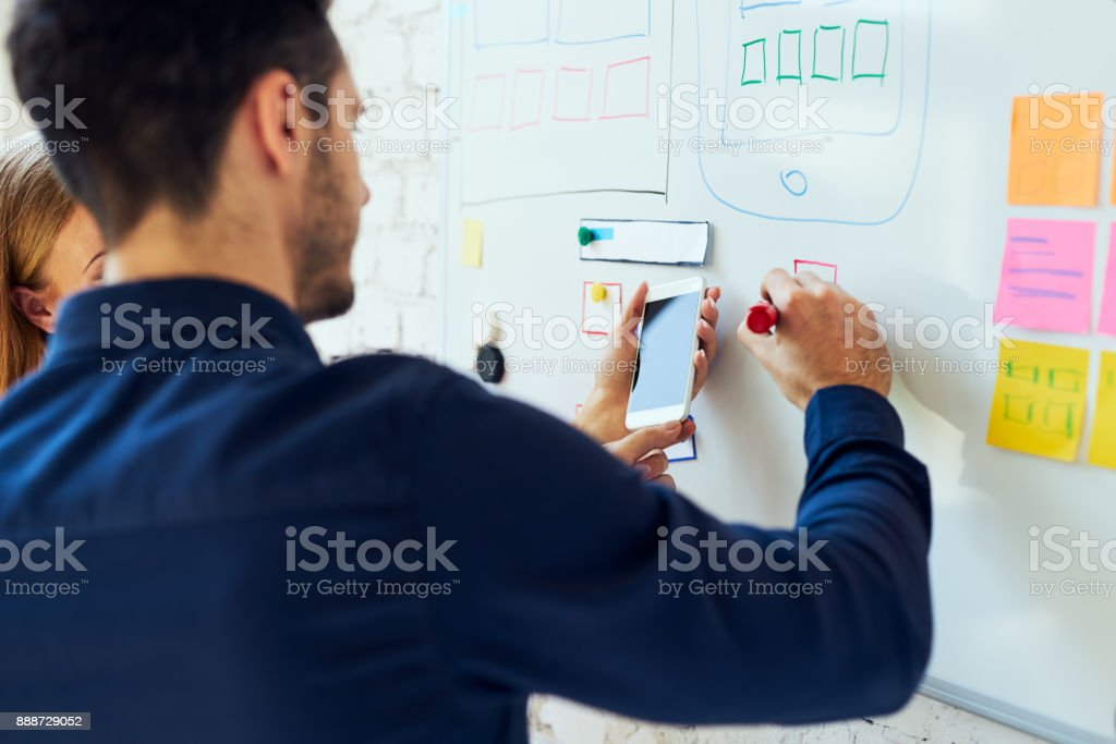 Closeup of ux designers prototyping mobile application layout stock photo