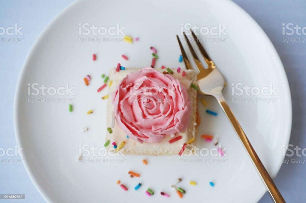 Gros plan du gâteau de crème vanille - Photo