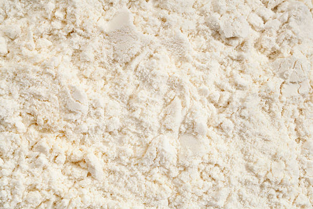 Closeup of vanilla whey protein powder stock photo