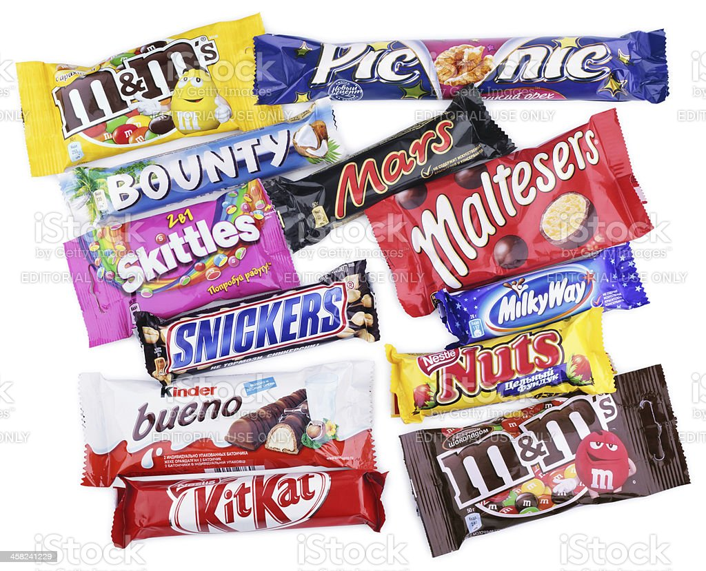 Closeup of various chocolate bars on white stock photo