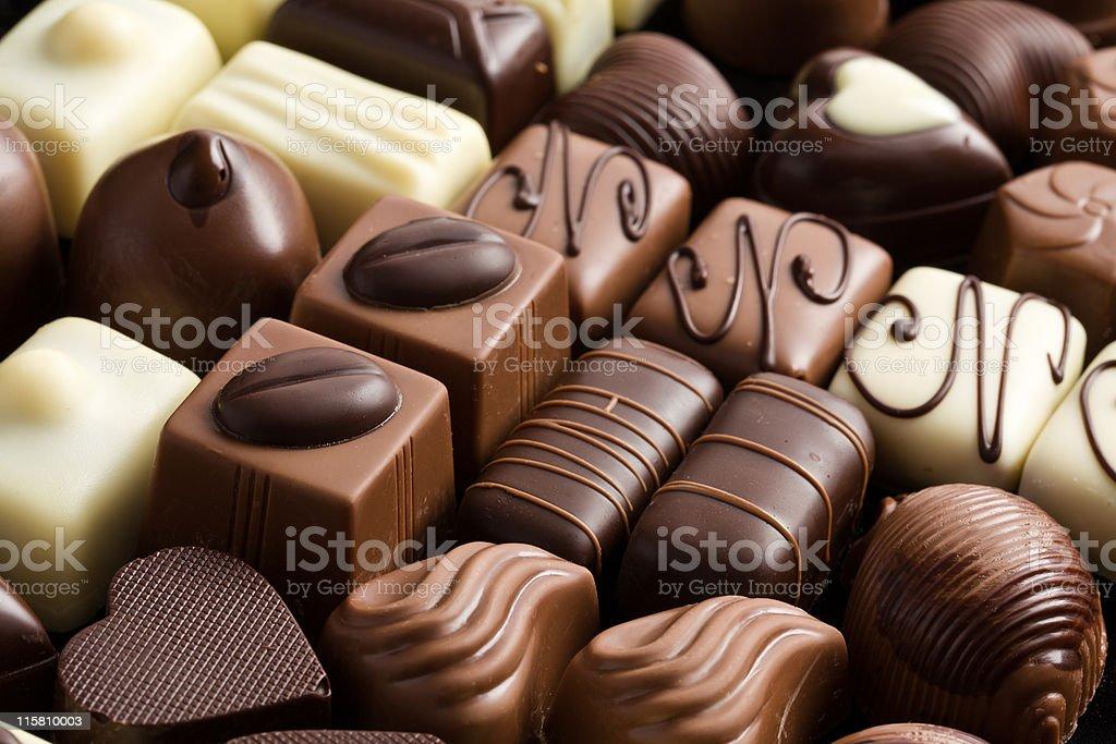 Close-up of various chocolate pralines stock photo