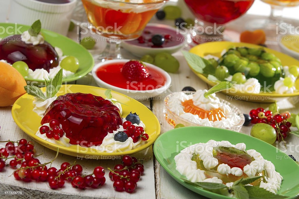 Close-up of various colored jelly with fruits royalty-free stock photo