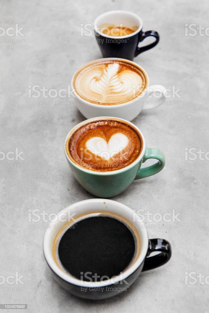 Gros plan de divers café chaud - Photo