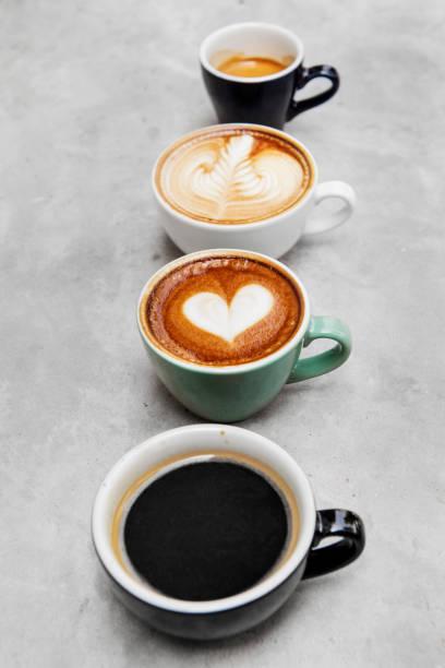 Closeup of various hot coffee stock photo