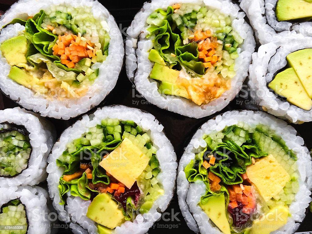Close-up of vegetarian sushi stock photo