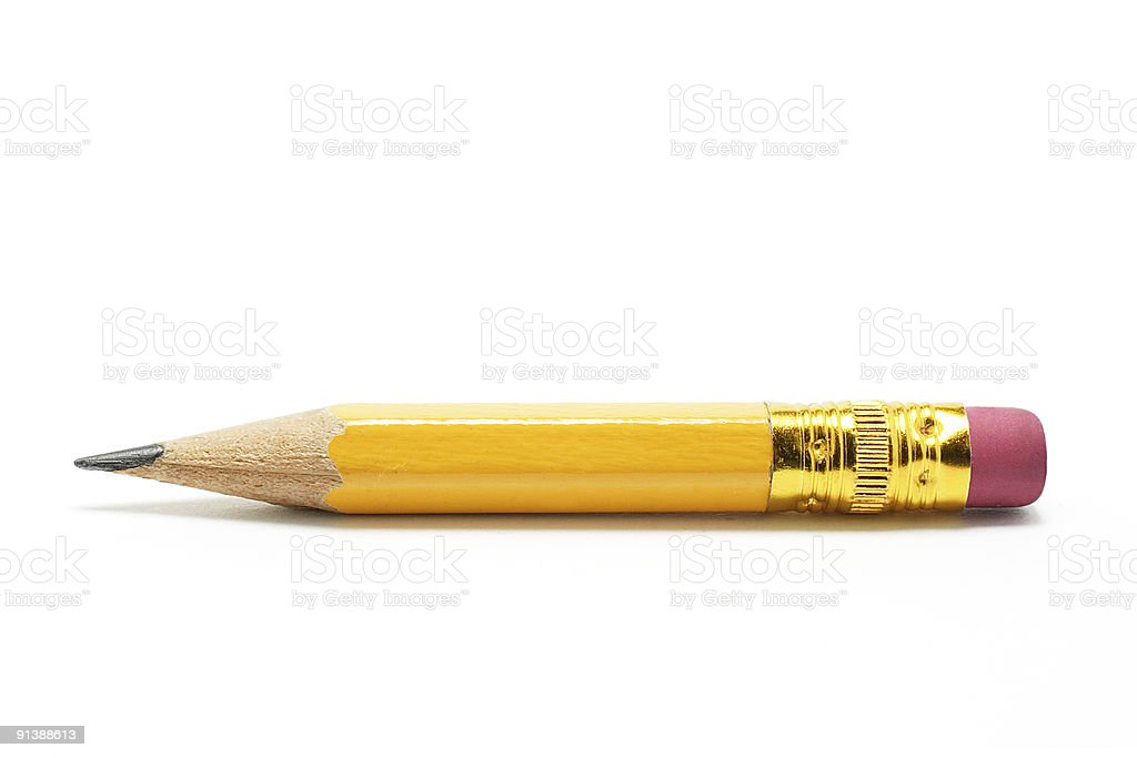 Close-up of very short yellow pencil on white background stock photo