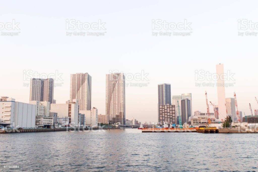 Closeup of view and boat at sumida river viewpoint in tokyo stock photo