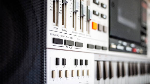 Closeup of vintage 1980s stereo/synth stock photo