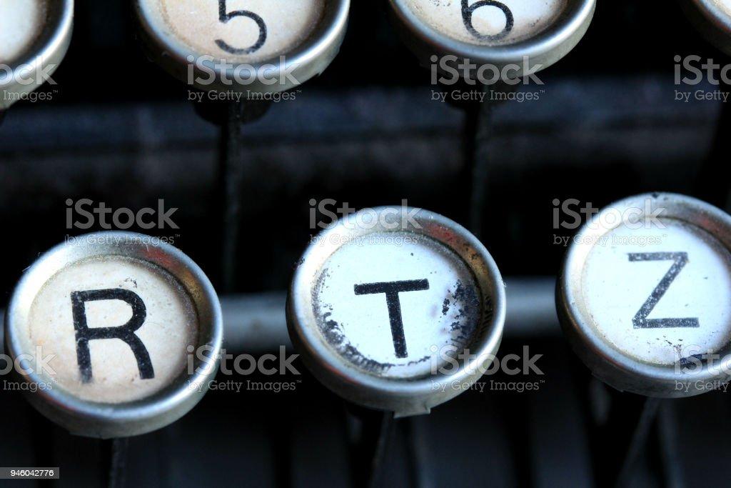 Nahaufnahme der Vintage Schreibmaschine Schlüssel – Foto