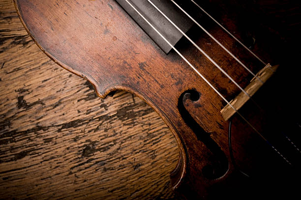 Close-up of Vintage Violion Strings stock photo