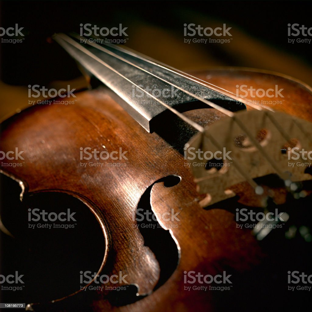 Close-up of Violin Strings and Body, Low Key stock photo