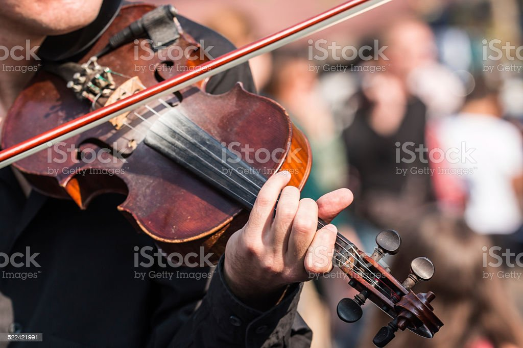 Close-up of violin-playing stock photo