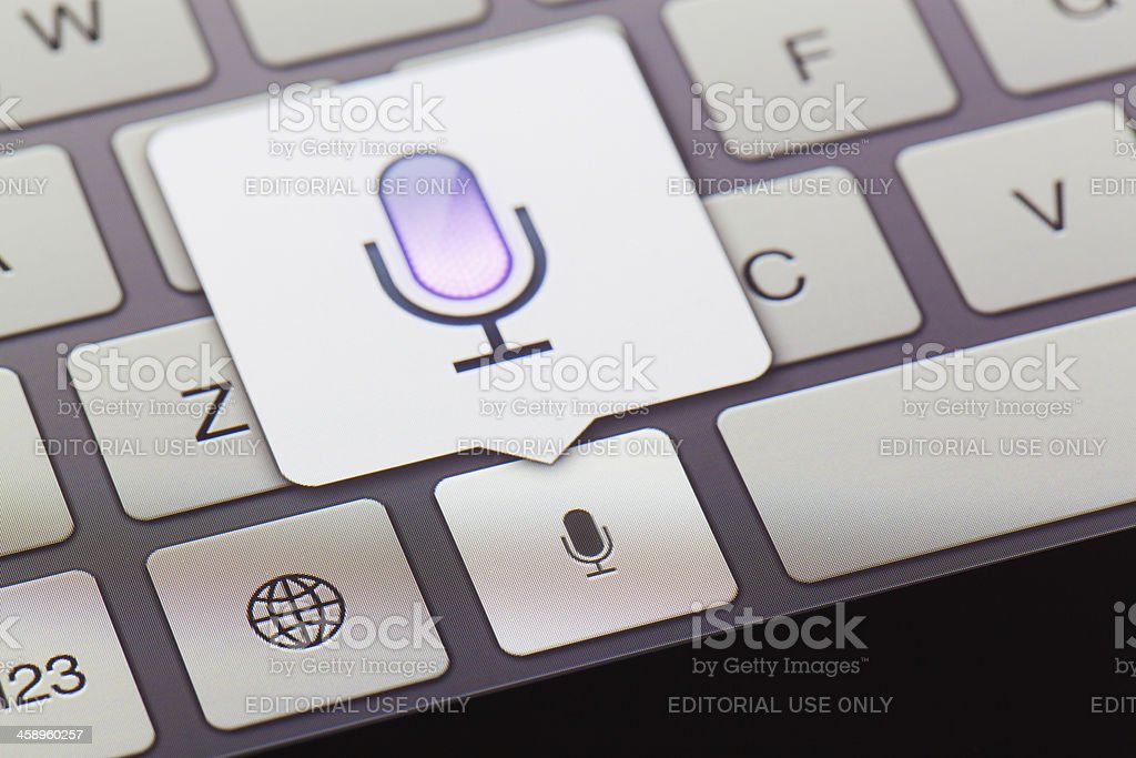 Close-up of Voice-to-text icon on a new ipad stock photo
