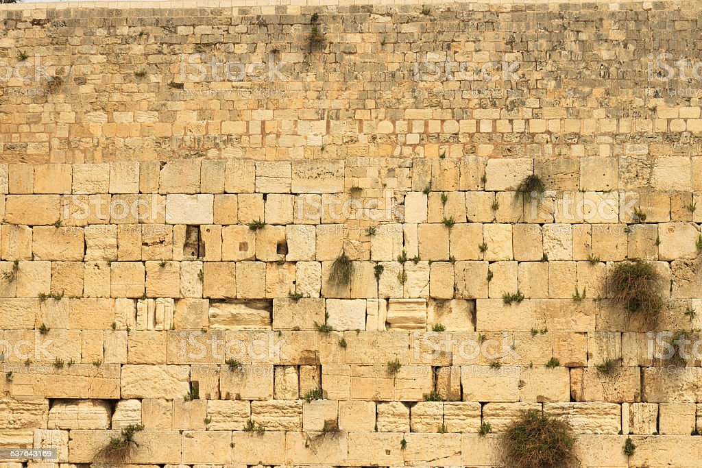 Closeup of wailing wall stock photo