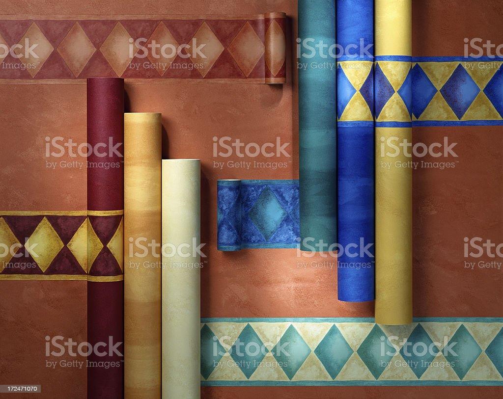 Closeup of  wallpaper rolls in plan royalty-free stock photo