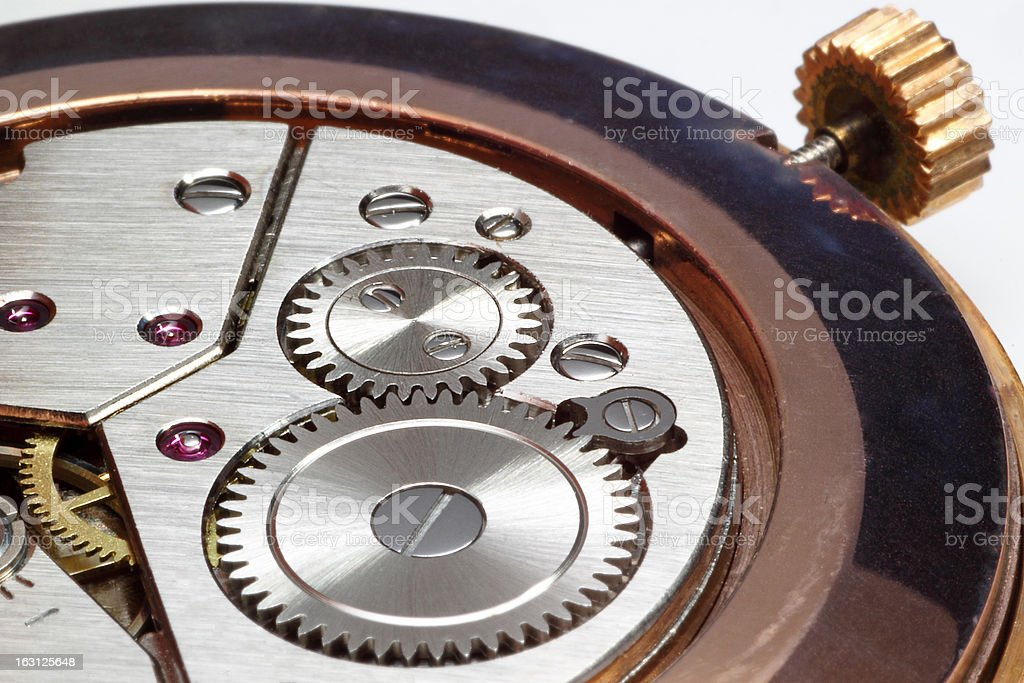 Closeup of watch gears royalty-free stock photo