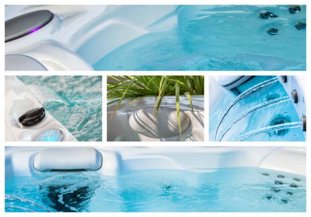 Closeup of water in hot bath tubs at spa stock photo