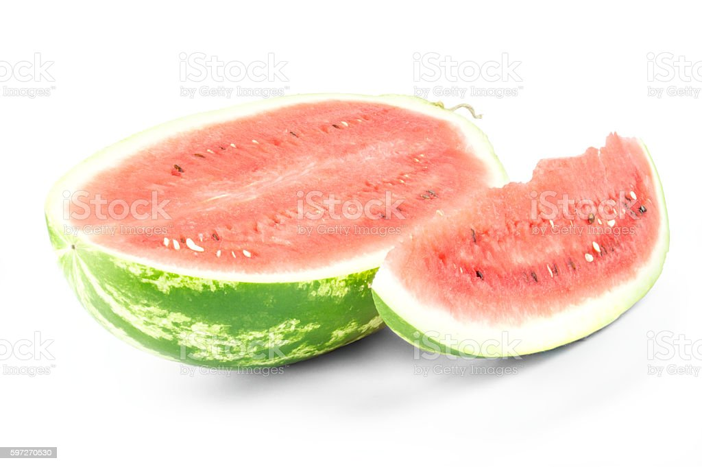 Closeup of watermelon half and slice on white background photo libre de droits