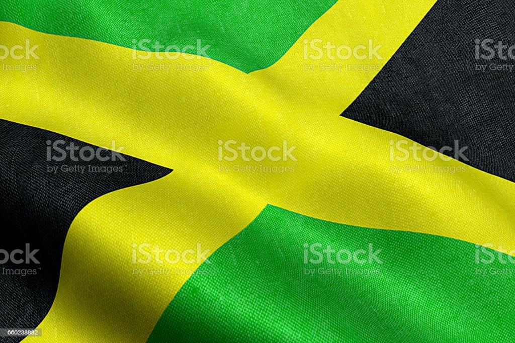 closeup de bandeira jamaica, Cruz listras, símbolo nacional da Jamaica - foto de acervo