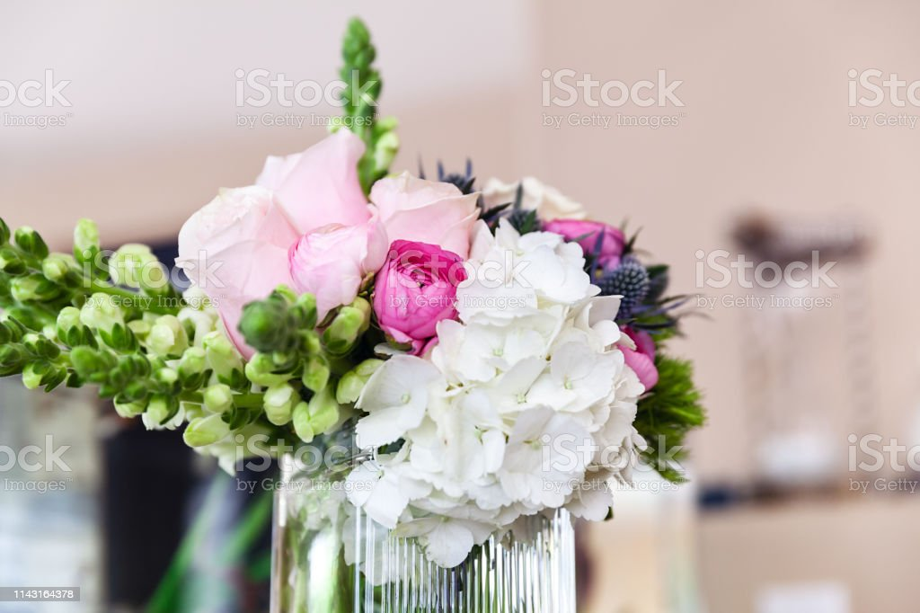 Closeup of wedding bouquet on wedding day stock photo