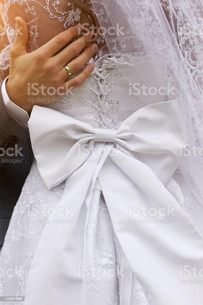 closeup of wedding dress stock photo
