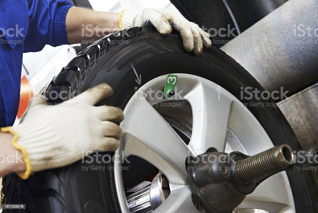close-up of wheel balancing stock photo