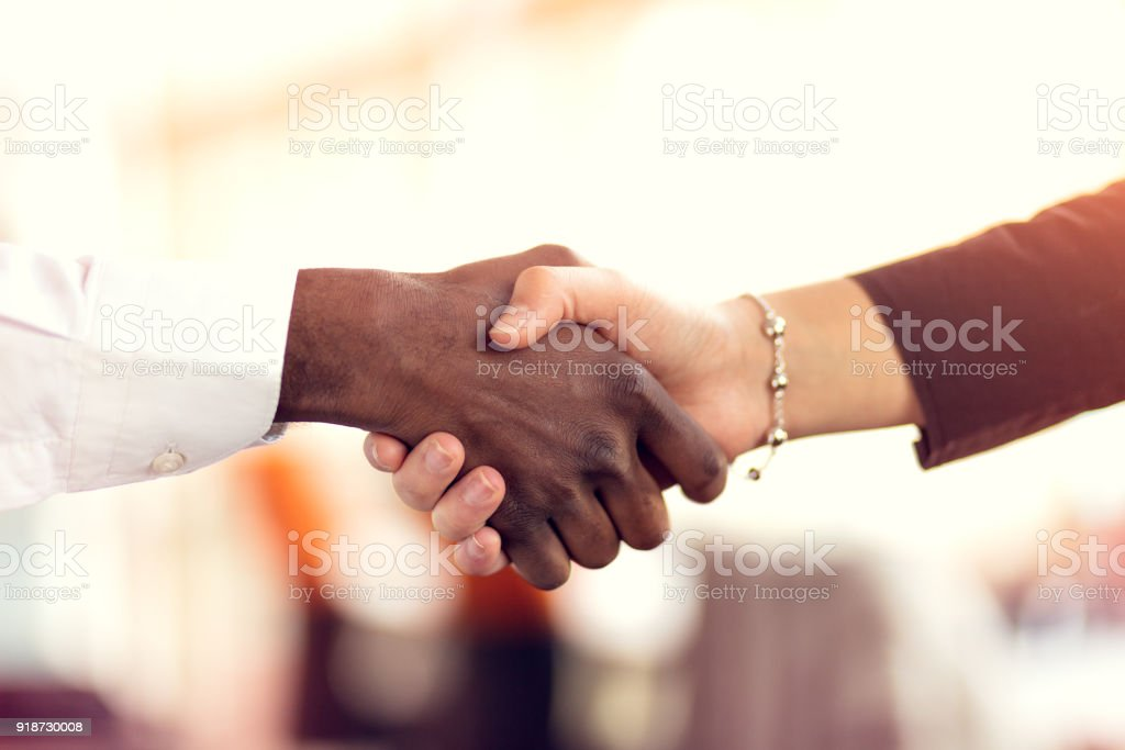 Closeup of White and Black shaking hands over a deal stock photo