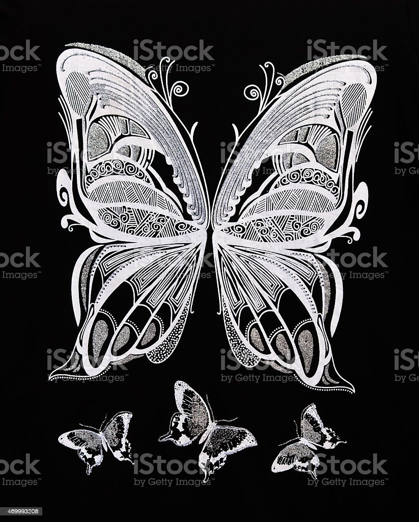 Closeup of white butterflies on black background stock photo