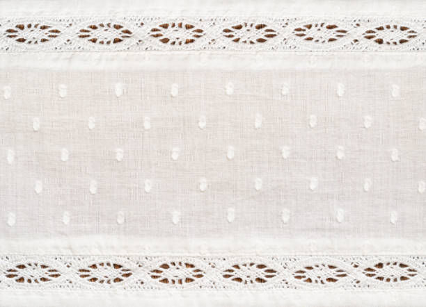 Closeup of white cotton fabric with lace borders Closeup of white cotton fabric with lace borders for background. Top view. lace textile stock pictures, royalty-free photos & images