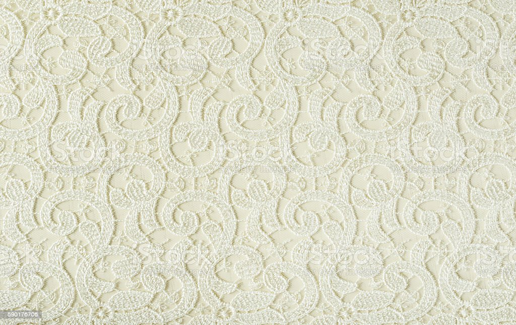 Closeup of white embroidered lace texture - foto de stock