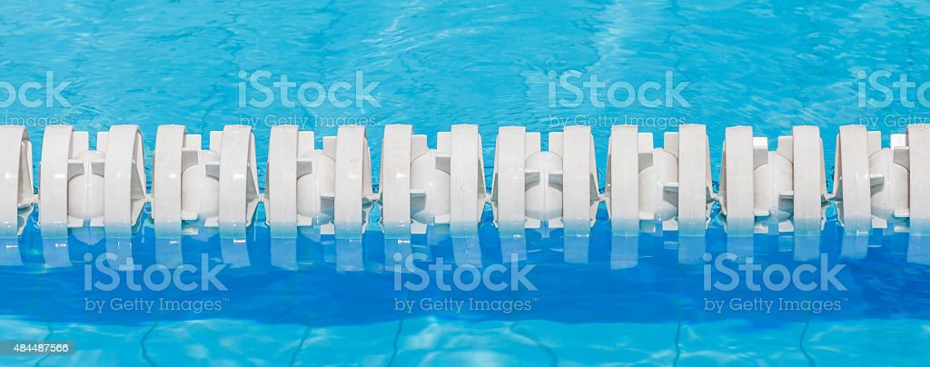 Closeup Of White Lane Rope In Swimming Pool For Competitions ...