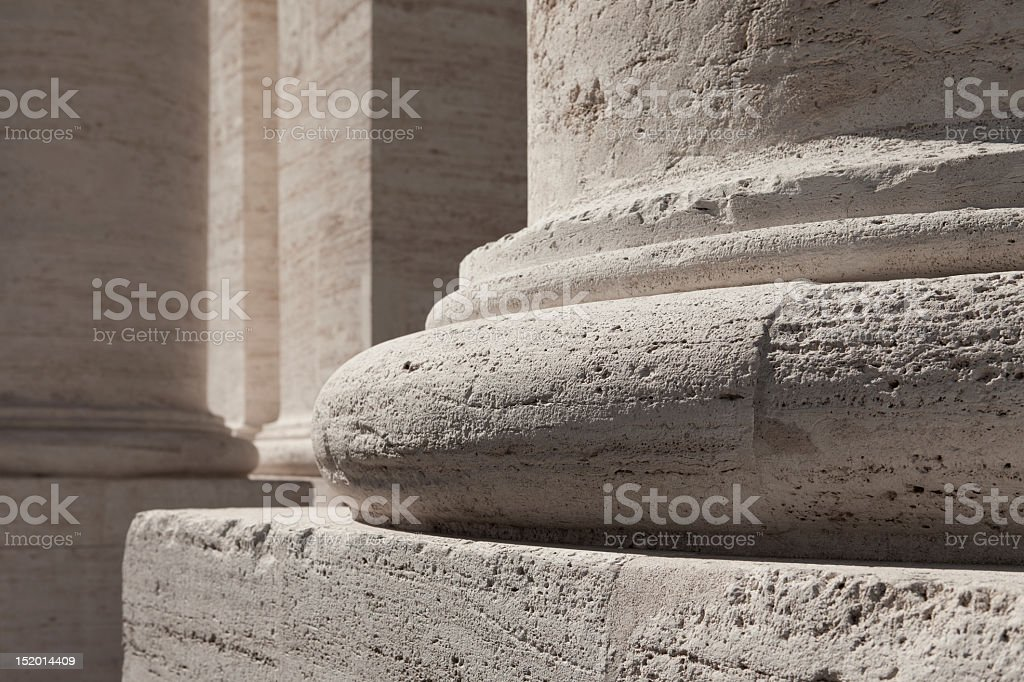 Close-up of white marble column base stock photo