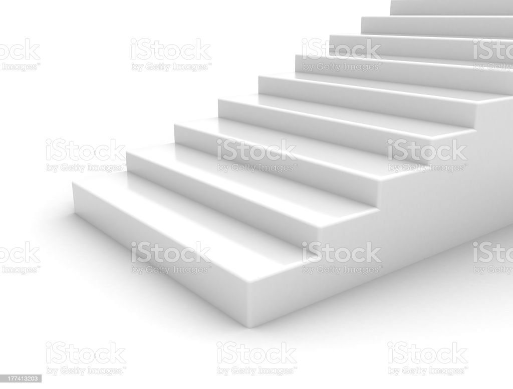 Close-up of white smooth marble stairway stock photo