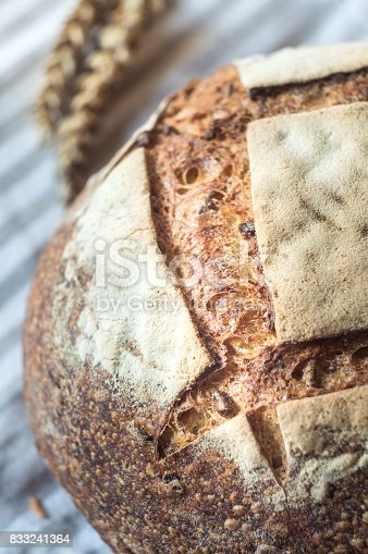 913749618istockphoto Close-up of Whole Wheat Sourdough Bread on a gray kitchen towel 833241364