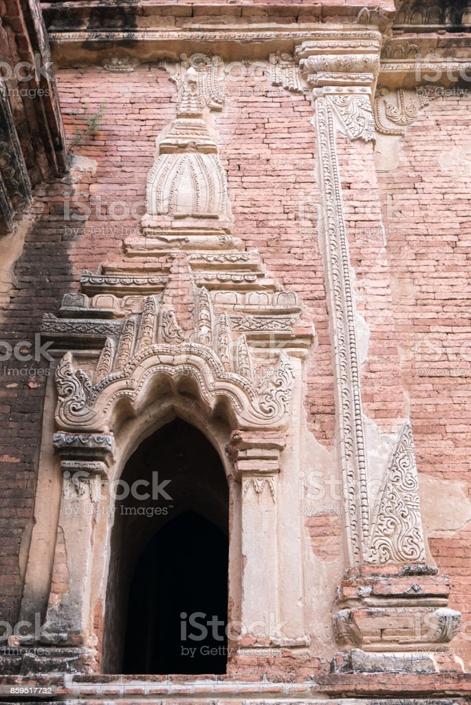 Close-Up of Window, Unnamed Temple, Bagan, Myanmar (Burma) stock photo