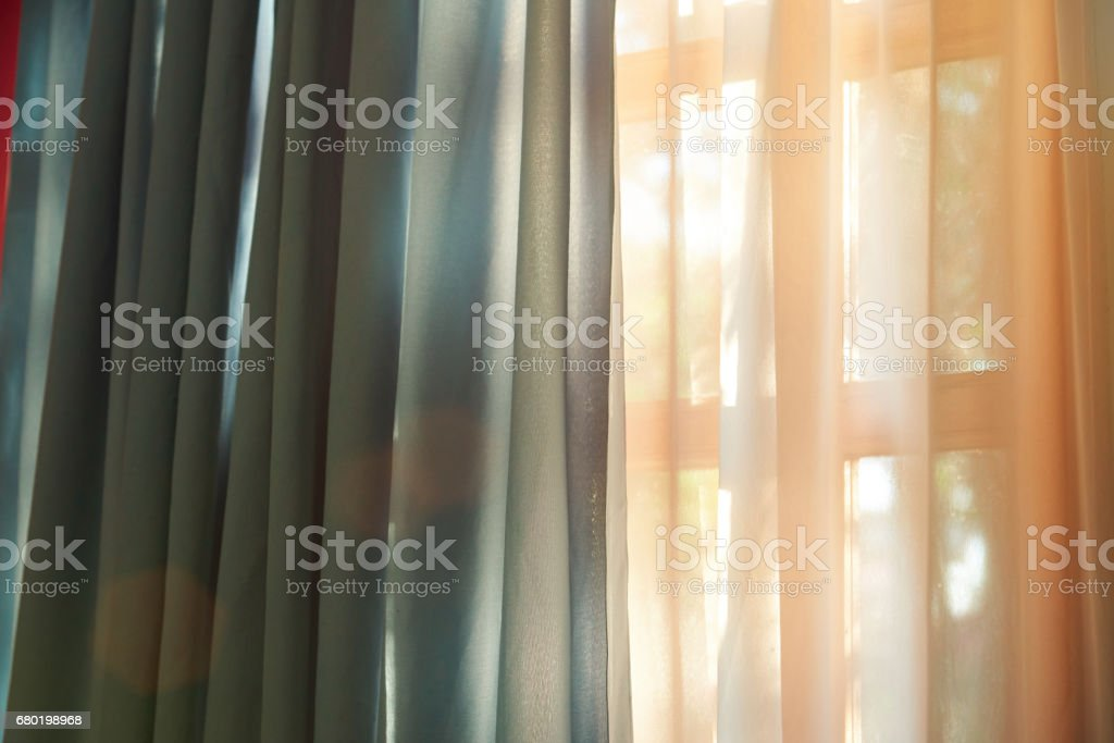 Closeup of window with curtain stock photo